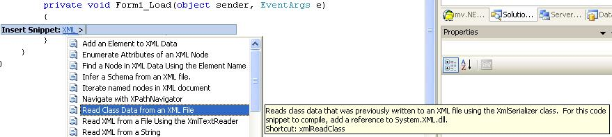 Screenshot of C# snippets from code editor
