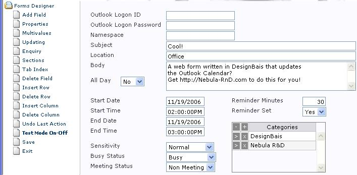 Appointment entry in DesignBais development environment