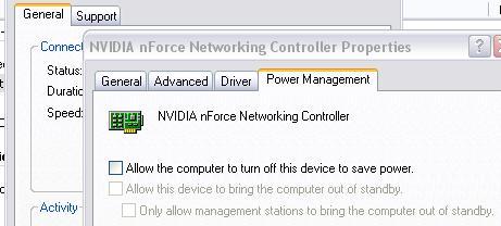 NIC Power Saver setting